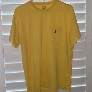 Yellow Polo Pocket T-shirt with Purple Horse